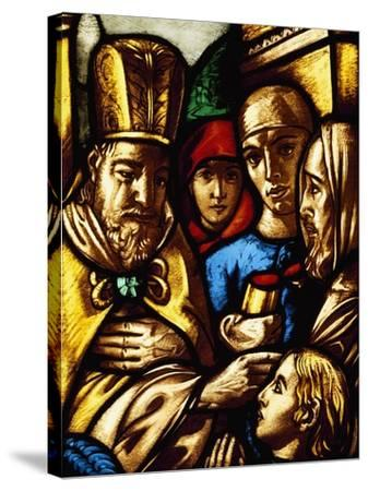 Italy, Milan Cathedral, King David Anointed by Samuel, Panel from a Stained-Glass Window--Stretched Canvas Print