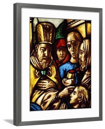 Italy, Milan Cathedral, King David Anointed by Samuel, Panel from a Stained-Glass Window--Framed Giclee Print