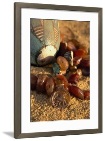 Carnelian Necklace, Pendant with Lion, Valley of Golden Mummies, Bahariya Oasis, Giza, Egypt--Framed Giclee Print