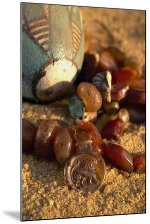 Carnelian Necklace, Pendant with Lion, Valley of Golden Mummies, Bahariya Oasis, Giza, Egypt--Mounted Giclee Print