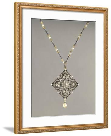 Enamelled Gold Necklace with Pendant Set with Pearls and Diamonds--Framed Giclee Print