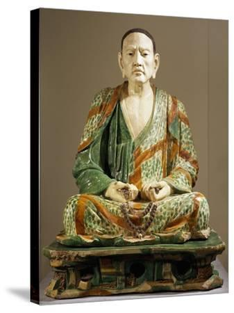 Arhat Tamrabhadra Seated, Glazed Tri-Color Terracotta Statue, China--Stretched Canvas Print