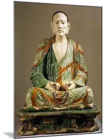 Arhat Tamrabhadra Seated, Glazed Tri-Color Terracotta Statue, China--Mounted Giclee Print