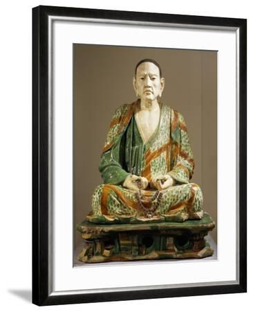 Arhat Tamrabhadra Seated, Glazed Tri-Color Terracotta Statue, China--Framed Giclee Print