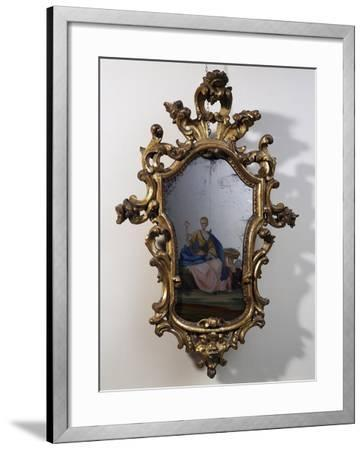 Roman Mirror with Painted Scene, Carved and Gilt Wood Frame, Italy--Framed Giclee Print