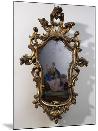 Roman Mirror with Painted Scene, Carved and Gilt Wood Frame, Italy--Mounted Giclee Print