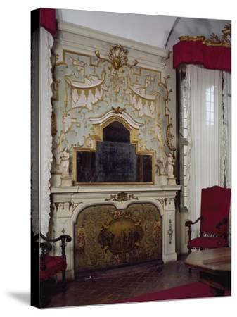 Fireplace in Pope Benedict XIV's Salon with Gilded Stucco, Tozzoni Mansion, Imola, Italy--Stretched Canvas Print