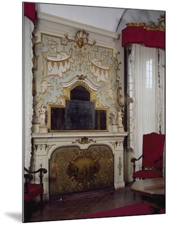 Fireplace in Pope Benedict XIV's Salon with Gilded Stucco, Tozzoni Mansion, Imola, Italy--Mounted Giclee Print