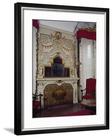 Fireplace in Pope Benedict XIV's Salon with Gilded Stucco, Tozzoni Mansion, Imola, Italy--Framed Giclee Print