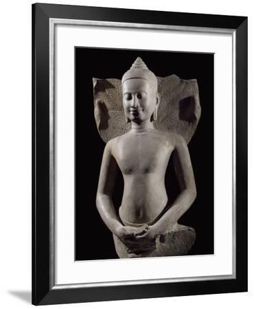 Cobra Protecting Buddha, Bayon-Style Stoneware Statue, from Preah Khan in Kompong Svay--Framed Giclee Print