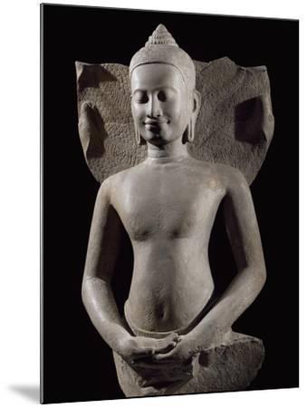 Cobra Protecting Buddha, Bayon-Style Stoneware Statue, from Preah Khan in Kompong Svay--Mounted Giclee Print