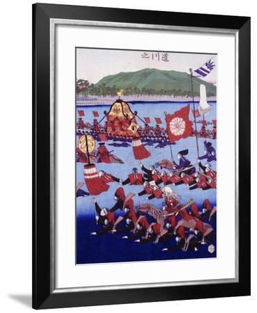 Japan, Armed Troops Crossing Lake, Ukiyo-E Woodblock Print from Edo Period--Framed Giclee Print