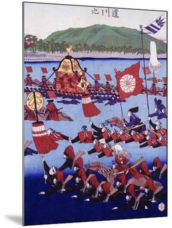 Japan, Armed Troops Crossing Lake, Ukiyo-E Woodblock Print from Edo Period--Mounted Giclee Print
