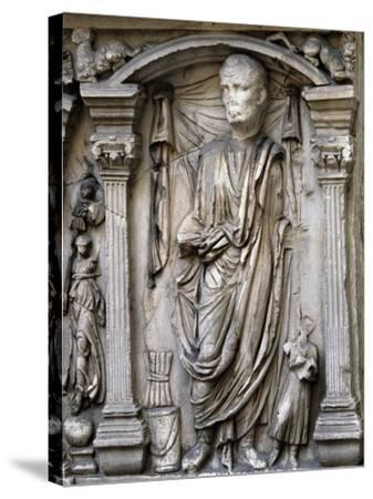 Male Figures in Draped and Pleated Robes, Decorations in Relief, Sarcophagus, Ancient Rome--Stretched Canvas Print
