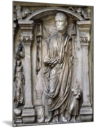 Male Figures in Draped and Pleated Robes, Decorations in Relief, Sarcophagus, Ancient Rome--Mounted Giclee Print