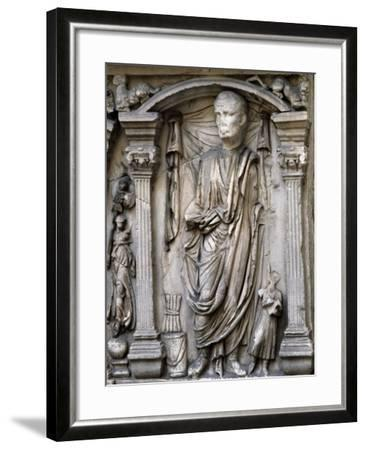 Male Figures in Draped and Pleated Robes, Decorations in Relief, Sarcophagus, Ancient Rome--Framed Giclee Print