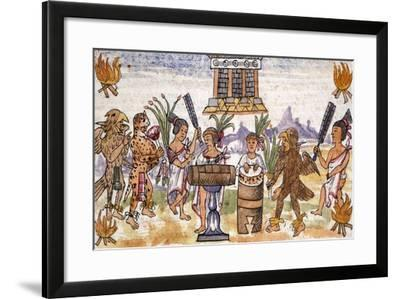 Aztec Feast in an Illustration Taken from the History of the Indies--Framed Giclee Print