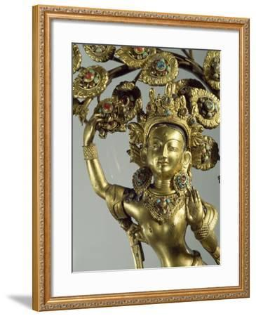 Queen Maya Gives Life to Future Buddha, Gilded Bronze Statue, Nepal, Nepalese Civilization--Framed Giclee Print