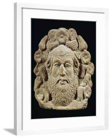 Antefix Depicting Silenus' Head Surrounded by Bunches of Grapes and Flowers--Framed Giclee Print
