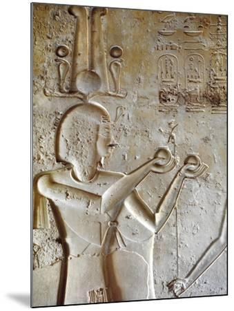 Egypt, Luxor, Valley of the Kings, Tomb of Seti II, Entrance Relief of Ra from Nineteenth Dynasty--Mounted Giclee Print