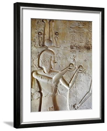 Egypt, Luxor, Valley of the Kings, Tomb of Seti II, Entrance Relief of Ra from Nineteenth Dynasty--Framed Giclee Print