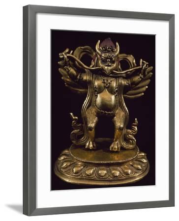 Gilt Bronze Statue Depicting Garuda, Detail of Fabulous Bird Venerated in Bon Religion--Framed Giclee Print