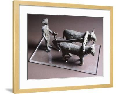 Votive Bronze Statuette Depicting Plowman, Artifact from Arezzo--Framed Giclee Print