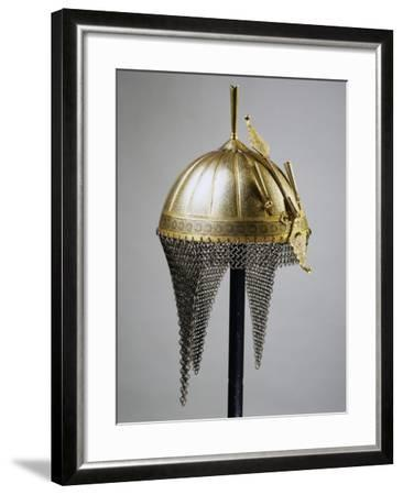 Helmet in Steel and Gold, Indian Manufacture, India, End of 18th Century--Framed Giclee Print
