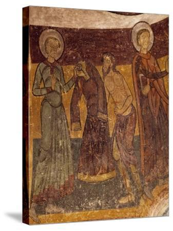 St Giles Offering His Garment to Poor Man in Church of Saint-Aignan, Brinay, France, 12th Century--Stretched Canvas Print
