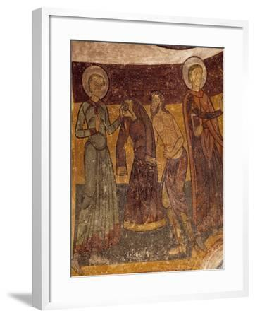 St Giles Offering His Garment to Poor Man in Church of Saint-Aignan, Brinay, France, 12th Century--Framed Giclee Print