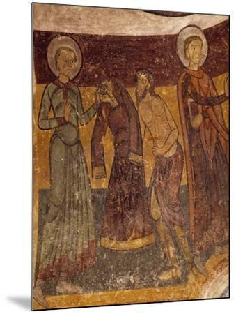 St Giles Offering His Garment to Poor Man in Church of Saint-Aignan, Brinay, France, 12th Century--Mounted Giclee Print