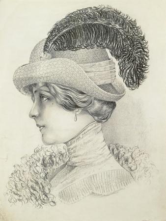 Women's Fashion Plate Depicting Hat by Robert Funke, Sketch, 1910--Framed Giclee Print
