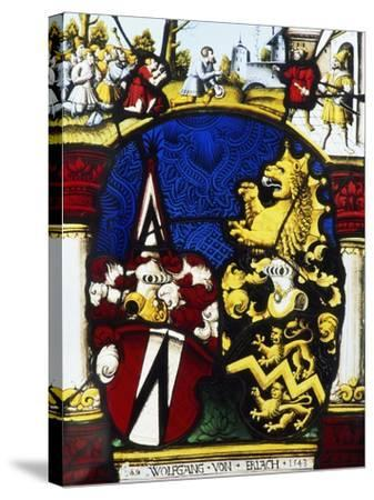 Stained-Glass Window in the Main Hall of Thun Castle, Canton of Bern, Detail, Switzerland--Stretched Canvas Print