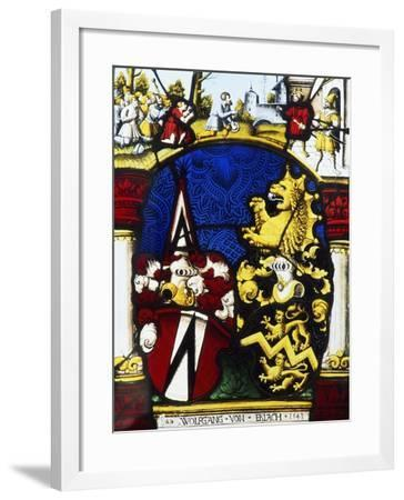Stained-Glass Window in the Main Hall of Thun Castle, Canton of Bern, Detail, Switzerland--Framed Giclee Print