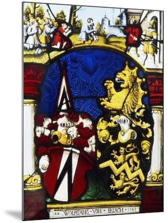 Stained-Glass Window in the Main Hall of Thun Castle, Canton of Bern, Detail, Switzerland--Mounted Giclee Print