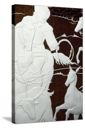 Hunting Scene, Sandblasted Engraving-Hollow on Sheet of Glass--Stretched Canvas Print
