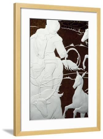 Hunting Scene, Sandblasted Engraving-Hollow on Sheet of Glass--Framed Giclee Print