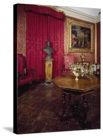 Walnut Veneer Wood Table in Pope Benedict XIV's Salon, Tozzoni Mansion, Italy--Stretched Canvas Print