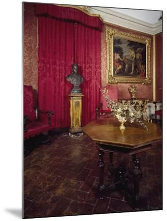 Walnut Veneer Wood Table in Pope Benedict XIV's Salon, Tozzoni Mansion, Italy--Mounted Giclee Print