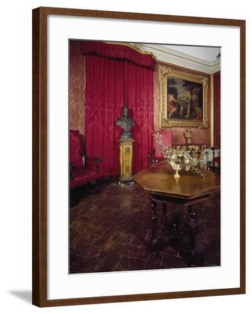 Walnut Veneer Wood Table in Pope Benedict XIV's Salon, Tozzoni Mansion, Italy--Framed Giclee Print