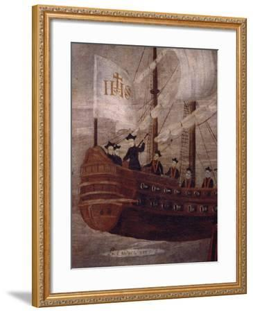 The Jesuits Arriving by Ship Off the Coast of New Granada, Painting 18th Century--Framed Giclee Print