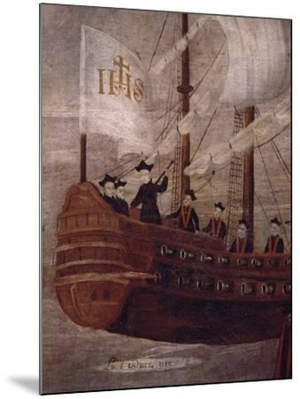The Jesuits Arriving by Ship Off the Coast of New Granada, Painting 18th Century--Mounted Giclee Print