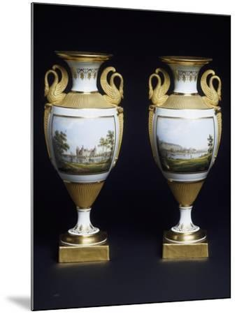 Pair of Vases, Porcelain, Meissen Manufacture, Saxony, Germany--Mounted Giclee Print