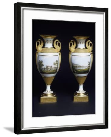 Pair of Vases, Porcelain, Meissen Manufacture, Saxony, Germany--Framed Giclee Print