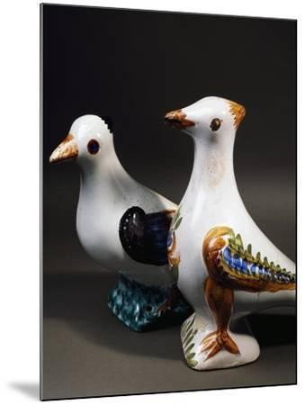 Pair of Decorative Doves in Dovecote, Maiolica, Burgundy, Detail, France--Mounted Giclee Print