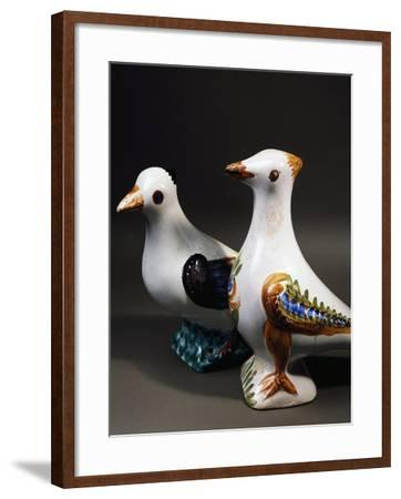Pair of Decorative Doves in Dovecote, Maiolica, Burgundy, Detail, France--Framed Giclee Print