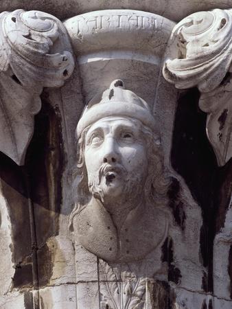 Italy, Venice, Doge's Palace, Head of Tartar Warrior, Detail from Capital--Framed Giclee Print