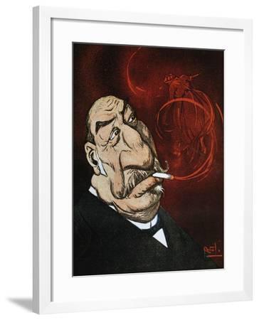 The Honourable Giolitti's Smoke, Satirical Cartoon from L'Asino Magazine, July 26, 1908, Italy--Framed Giclee Print