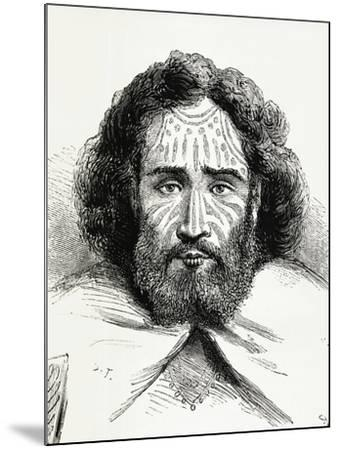 Native Chief with Tattoos on Easter Island, Polynesia, 1872--Mounted Giclee Print