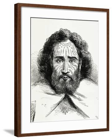 Native Chief with Tattoos on Easter Island, Polynesia, 1872--Framed Giclee Print